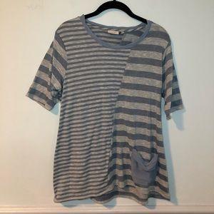 LOGO Blue & Gray Striped Short Sleeve Top